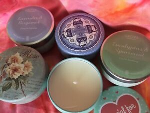 LOT-of-5-Aromatherapy-Scented-Candles-in-2-oz-Travel-Tins-with-Lid-Covers-NEW