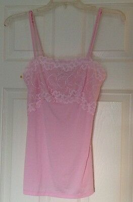 Felina Nightie Size S Euc Clear And Distinctive Pink W/pink Lace Adjustable Night Gown Shirt