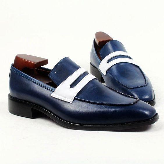 Zapatos de vestir hecho a Mano Cuero para hombre de dos tonos, azul marino hombre Zapatos Mocasín Mocasines