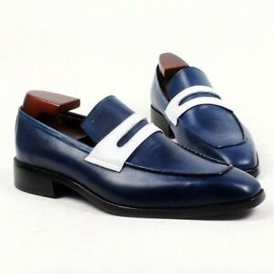 ff137884e5ce9 Details about Handmade Men two tone Leather dress shoes, Men Navy blue  loafer moccasins shoes
