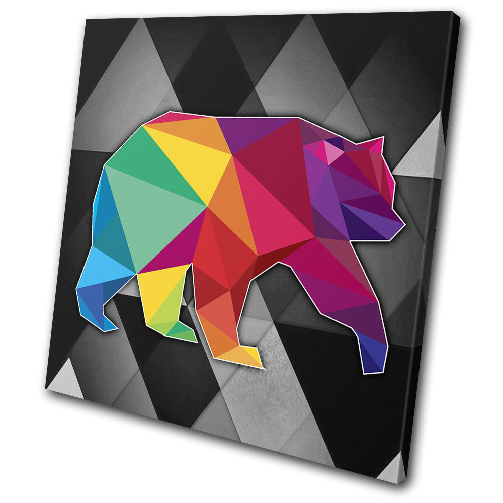 Bright Colourful Bear Animals SINGLE TELA parete arte foto stampa