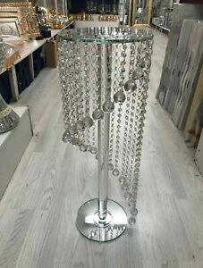 65-Spiral-Silver-Mirrored-Table-side-Glass-Stand-Bed-Side-Sparkle-Crystal-Romany