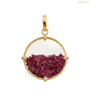 Baguette-Ruby-Gemstone-Shaker-Pendant-Diamond-18k-Solid-Yellow-Gold-Fine-Jewelry