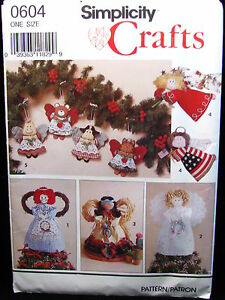 Christmas-Angel-Ornaments-Simplicity-Crafts-Sewing-Pattern-0604-Uncut