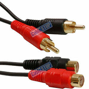 5M-TWIN-RCA-PHONO-2-x-MALE-PLUGS-TO-2-x-FEMALE-SOCKETS-EXTENSION-CABLE-LEAD
