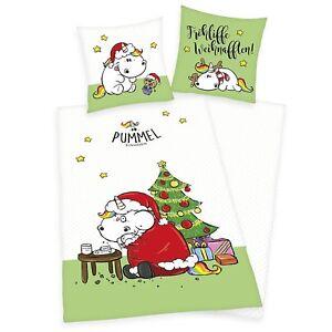 Linge-de-lit-pummeleinhorn-LISSE-Joyeux-Noel-140-x-200-cm-cadeau-NOUVEAU