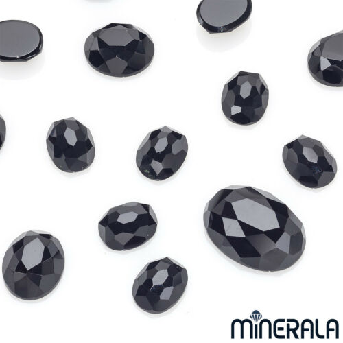 [WHOLESALE] NATURAL BLACK ONYX GEMSTONE OVAL SHAPE LOOSE ROSE CUT VARIOUS SIZES