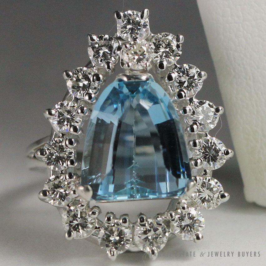 NATURAL AQUAMARINE SHIELD SHAPE & 2.04CTW DIAMOND 14K WHITE gold RING W  PAPER