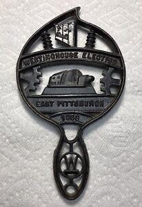 Vintage-1950s-Cast-Iron-Trivet-Hot-Pad-Wall-Art-Decor-Westinghouse-Pittsburgh
