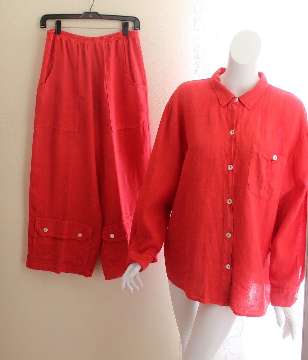 Willow -Sz L Very Ripe Watermelon Rosa Linen Shirt Jacket + Culottes Lagenlook