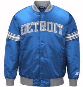 Image is loading Authentic-Detroit-Lions-Starter-NFL-satin-jacket-Blue 9867b9843