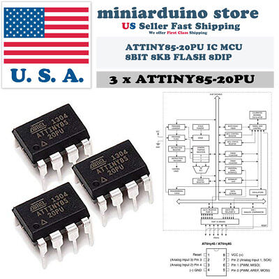 5pcs ATTINY85-20PU IC MCU 8BIT 8KB FLASH 8DIP New