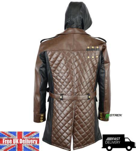 Halloween Trench y cuero para Sudaderas Style Biker capucha Coat chaqueta con de hombre PYqa8w