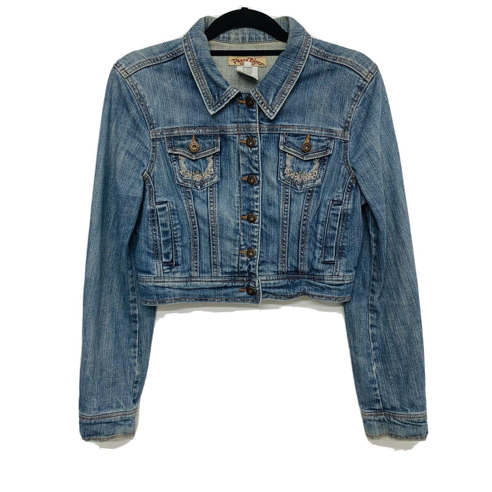 Paris Blue  Woman Crop Jean Jacket  Blue  Embroid… - image 1