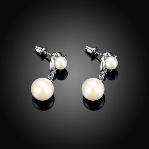 18K White Gold Filled Pearl Dangly Wedding Earrings with Zircon Crystal Bridal