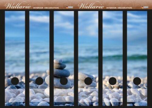 Wallario Ordnerrücken selbstklebend für 6 breite Ordner Kieselsteine am Ufer