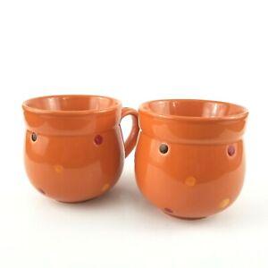 Set of 2 Temp-tations By Tara Orange Polka Dot Stoneware 12 Oz Coffee Tea Mugs