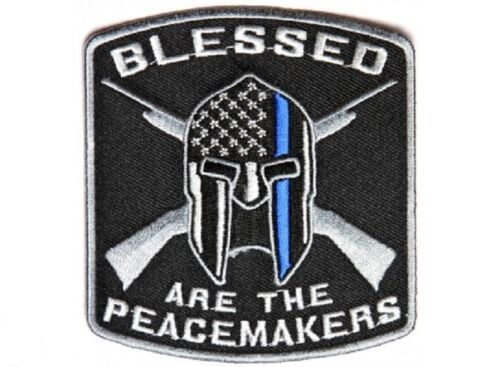 "BLESSED ARE THE PEACEMAKERS Blue Line 3.5/"" x 3.75/"" iron on patch 4622 A44"