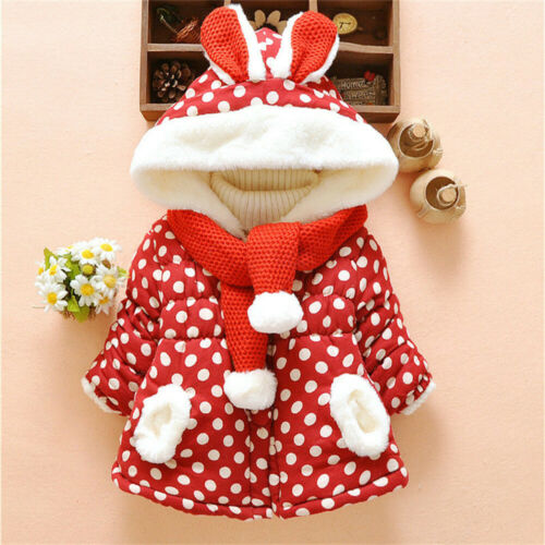 Baby Kids Girls Parka Hooded Coat Toddler Long Sleeve Winter Hoodies Overcoat SA