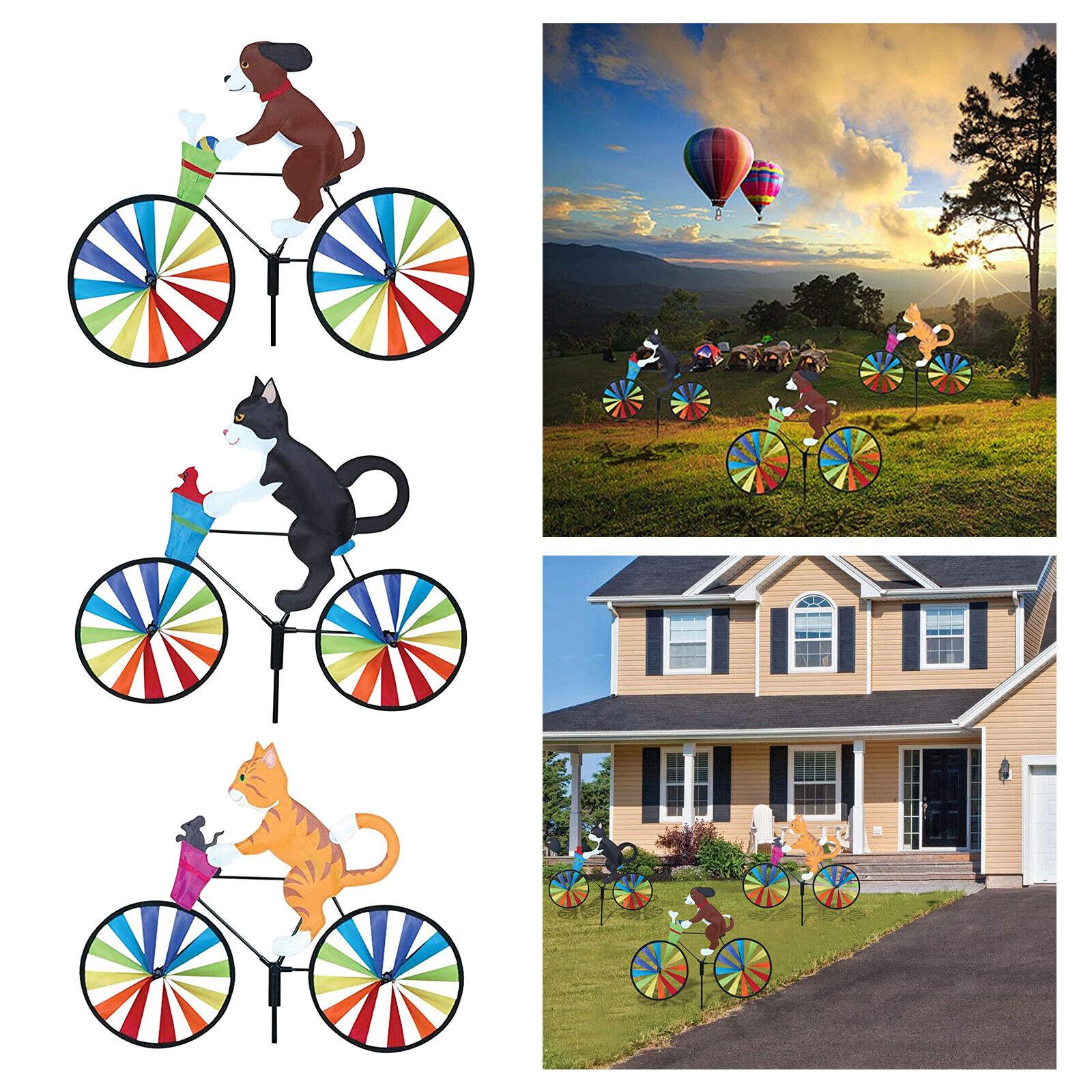 Wheel Rainbow Windmill Wind Spinner Whirligig Garden Home Lawn Yard Decor