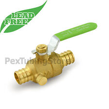 34 Pex Crimp Shut Off Lead Free Brass Ball Valve With Drain Outlet Full Port