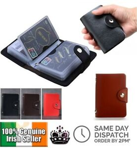 New-3-Colour-PU-Leather-24-ID-Credit-Card-Holder-Mens-Women-Business-Wallet-Case