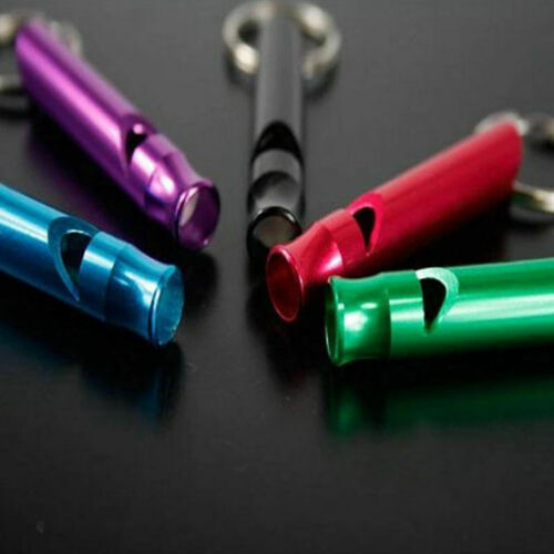 5 x Aluminum Outdoor Camping Hiking Survival Emergency Whistle EDC Tool Keyring