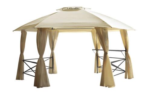 Gartenpavillon Gartenpavillion XL Pavillon Metall LIMA 6-eckig wasserdicht beige