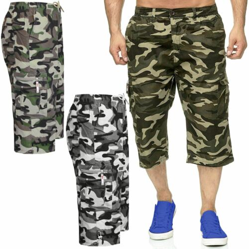 MENS 3//4 SHORTS CAMOUFLAGE ELASTICATED WAIST ARMY COMBAT CARGO POCKETS TROUSERS