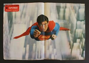 """1970's SUPERMAN Spanish Vintage Poster Aging Signs 47 x 32.5 cm 18.5"""" x 12.8"""" DC"""