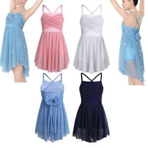 72d85f2e7 Girls Latin Lyrical Sequin Leotard Dress Ballet Dance Costume ...