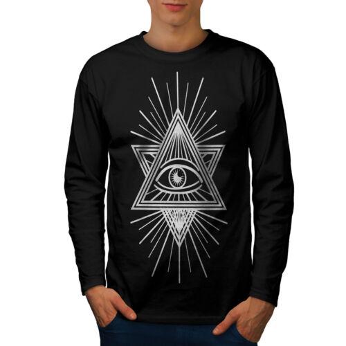 Wellcoda Triangle Eye Sign Mens Long Sleeve T-shirt Symbolism Graphic Design