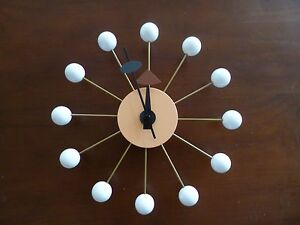 Classic-Modern-Design-White-Wood-Ball-Wall-Clock-George-Nelson-Replica