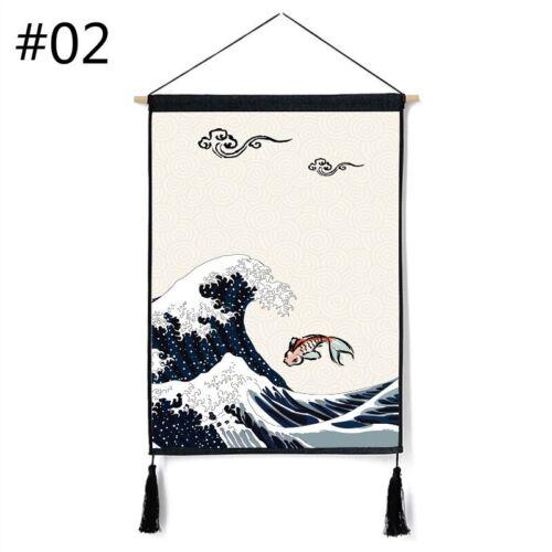 Japanese Noren Crane Printed Tapestry Wall Hanging Banner Doorway Art Home Decor