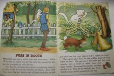 1941 PUSS IN BOOTS SAALFIELD LINEN CHILDREN'S BOOK COLOR ILLUSTRATED LARGE EDIT
