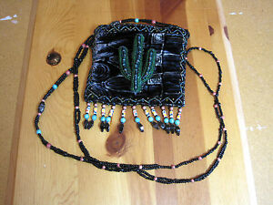 Southwestern Design Bag Saguaro Silk Beaded Black Date lF1TKJc3