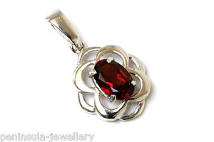 9ct-White-Gold-Garnet-Celtic-Necklace-Pendant-no-chain-Gift-Boxed-Made-in-UK