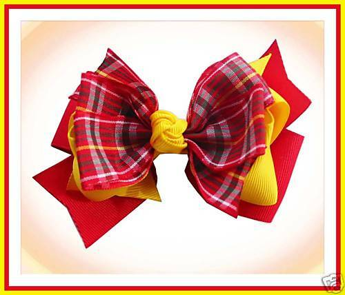 """50 BLESSING Good Girl 3 Layer Boutique 4.5/""""  Hair Bow Gingham Clip 49 No."""