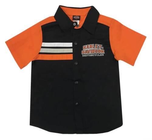 Harley-Davidson Little Boys/' Short Sleeve Woven Shop Shirt Black 1073865
