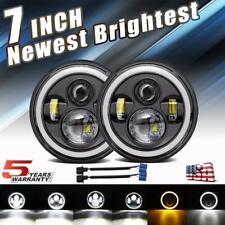 "Pair 7"" INCH 300W LED Headlights Halo Angle Eye For Jeep Wrangler CJ JK LJ 97-18"