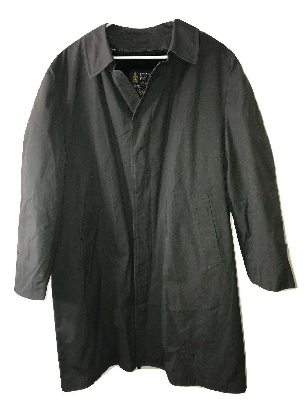 London Fog Iconic Mens Trench Coat With Removable Faux Fur Lining Green size 44