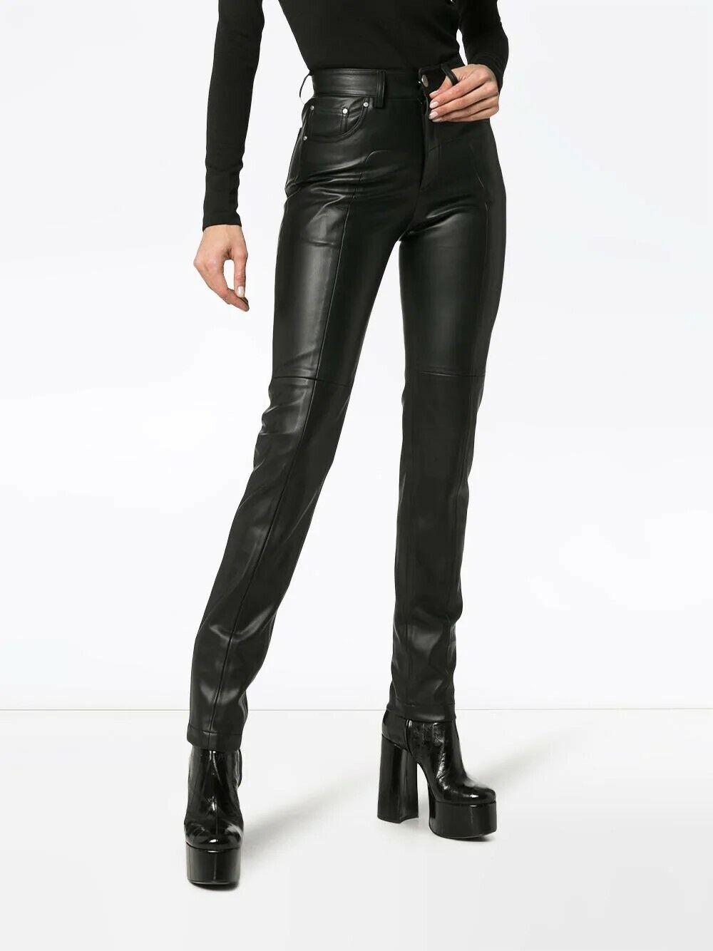 Leder Leggings Hose Damen Hohe Taille Skinny Stretch Nass Schwarz Geschnürt 14