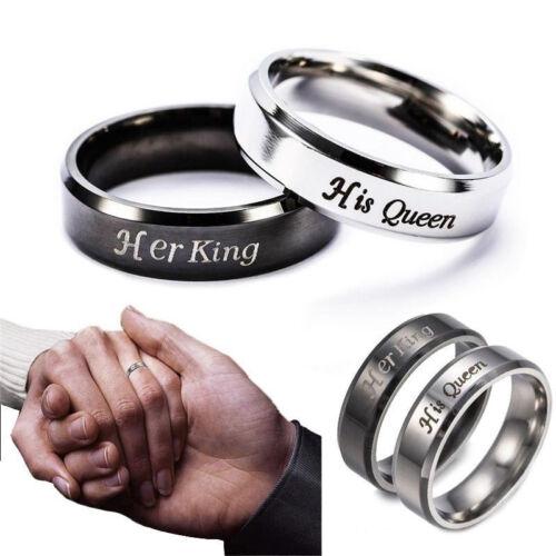 Couple Homme Femme Anneau Bague her King his Queen Bijoux Mariage Fiançailles NF