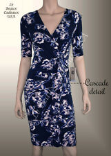 IVANKA TRUMP Women Dress Size 6 NAVY BLUE Short Sleeve FLORAL Knee Dressy LBCUSA