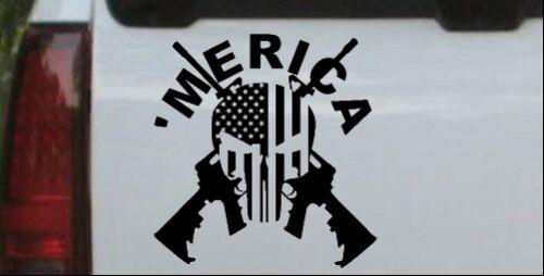 MERICA Punisher Skull Flag Crossed AR15 Car or Truck Window Decal Matte 6X5.8