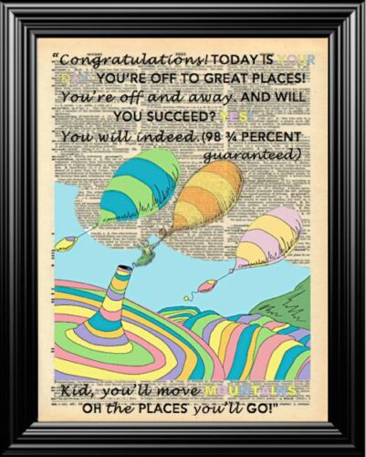 DR SEUSS OH THE PLACES YOU/'LL GO ALTERED ART UPCYCLED VINTAGE DICTIONARY PRINT!