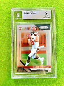 BAKER MAYFIELD PRIZM ROOKIE CARD GRADED BGS 9 MINT BROWNS RC - 2018 Panini Prizm