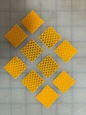 """3M 10 Pieces 1"""" x 1"""" YELLOW DIAMOND GRADE REFLECTIVE CONSPICUITY ADHESIVE TAPE"""