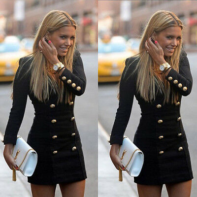 Women Slim Long Sleeve Buttons Dresses Casual Bodycon Cocktail Party Mini Dress