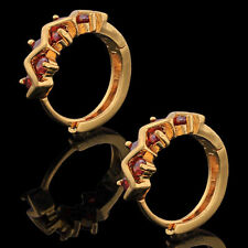 Fashion Jewellry  Womens Red Ruby Hoop Earrings Yellow Gold Filled Wave Type
